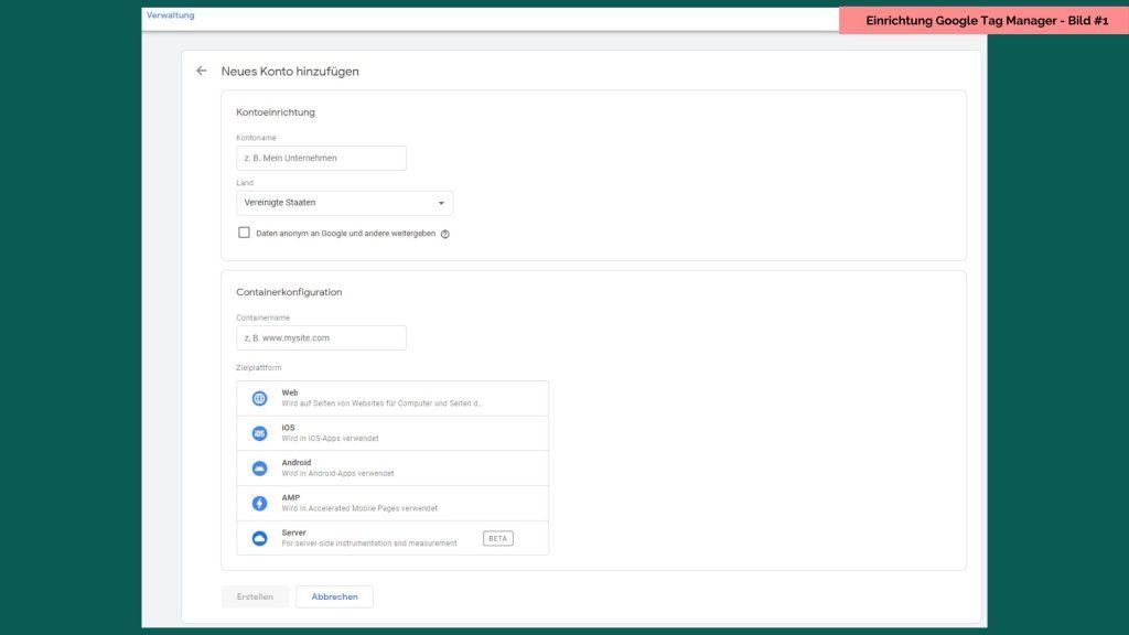 Einrichtung Google Tag Manager